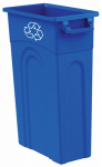 Slim Line Waste Container, High Boy, Blue, 23-Gal.