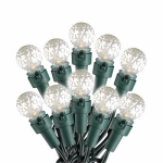 LED Christmas Light Set, G15Warm White, Faceted Pearl Glass, 50-Ct.
