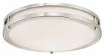 Dimmable LED Flush fixture, Brushed Nickel, 23-Watts