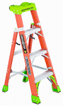 2-In-1 Cross Step Ladder, Fiberglass, 4-Ft.