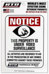Home Security Window Decal, Video Surveillance, White Vinyl, Must Purchase in Quantities of 12