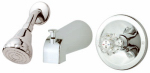 Tub & Shower Faucet + Showerhead, Acrylic Handle, Chrome