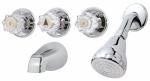 Tub & Shower Faucet + Showerhead, 3 Acrylic Handles, Chrome