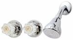 Shower Faucet + Showerhead, 2 Acrylic Handles, Chrome