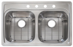 Double-Bowl Kitchen Sink, Stainless Steel, 22 x 33-In.
