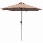Market Umbrella With LED Lights, Beige, 9-Ft.