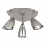 3-Light Halogen Canopy, Brushed Steel