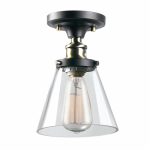 1-Light Glass Flush Mount, Clear Glass Shade, Oil Rubbed Bronze