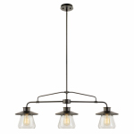 3-Light Pendant, Clear Glass Shades, Oil Rubbed Bronze