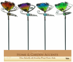 Butterfly Planter Stake, Glass, 15-In., Assorted Colors