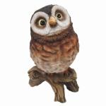 Garden Statue, Curious Owl, Resin, 10.24-In.