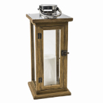 Oak Lantern, Battery-Operated Candle, 15-In.