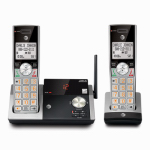Expandable Cordless Phone with Answering System & Caller ID, Silver/Black, 2 Handsets