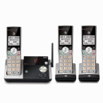 Expandable Cordless Phone with Answering System & Caller ID, Silver/Black, 3 Handsets