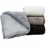 Brushed Flannel Throw with Sherpa, Assorted Colors, 50 x 60-In.