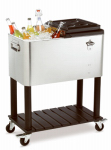 Stainless Steel Rolling Cooler, 60-Qt.