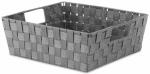Woven Strap Tote, Gray, 13 x 15 x 5-In.