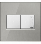 Wall Plate, 2-Gang, Brushed Stainless Mirror