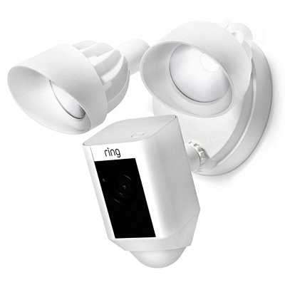 HD Security Camera + LED Flood Light, White