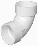 Plastic Pipe Fitting, DWV  Sanitary Elbow, 90 Degree, PVC, 3-In.