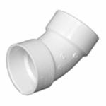 Plastic Pipe Fitting, DWV  Sanitary Elbow, 45-Degree, PVC, 3-In.