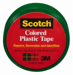 Colored Plastic Tape, Green, .75 x 125-In., Must Purchase in Quantities of 6