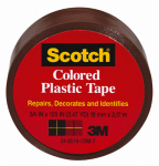 Colored Plastic Tape, Brown, .75 x 125-In., Must Purchase in Quantities of 6