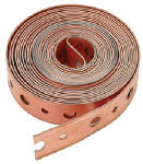 Pipe Hanger Strapping, .75-In. x 10-Ft. Roll Perforated Copper Coated