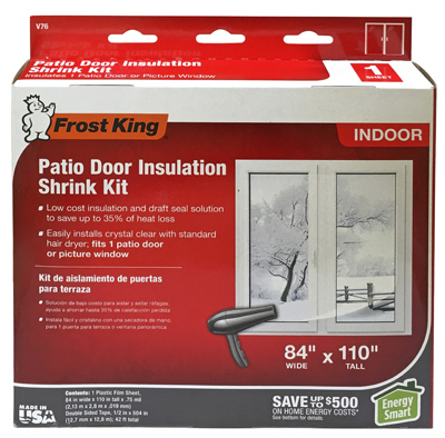 Frost king shrink film window insulation kit for patio for Window insulation values