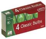 Christmas Lights Replacement Bulb, C7, Green Transparent, 4-Pk.