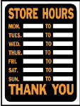 """9 x 12-Inch Plastic Hy-Glo Orange/ Black """"Store Hours"""" Sign, Must Purchase in Quantities of 10"""