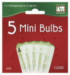 Christmas Lights Replacement Bulb, For 35, 70 & 140-Light Sets, Clear, 3.5-4V X/B, 5-Pk.