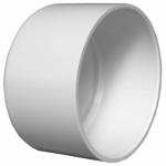 Plastic Pipe Fitting, DWV  Cap, Solvent Weld PVC, 4-In- LIMITED STOCK!