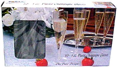 10CT 5OZFluteCham Glass