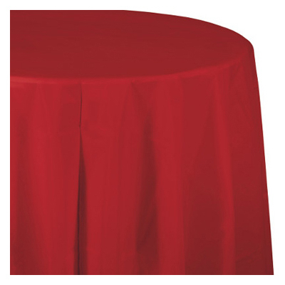 "82"" RED RND Tablecover"