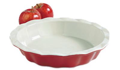 "9"" RED Ceram Pie Plate"