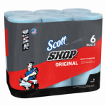 KIMBERLY-CLARK CORP 75180 6 Pack, Scott Blue Shop Towels, Absorbent & Disposable, Contains
