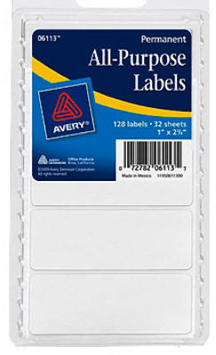 128CT WHT Rect Label