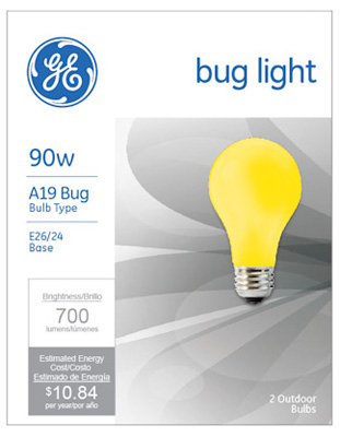 GE 2PK 90W YEL Bug Bulb - Woods Hardware