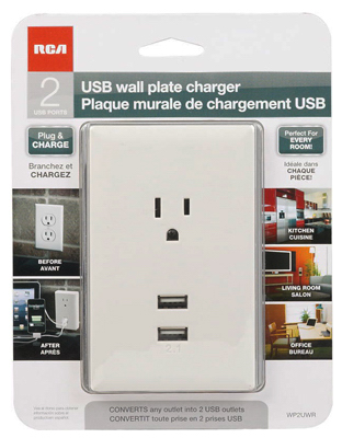WHT USB Wall Plate - Woods Hardware