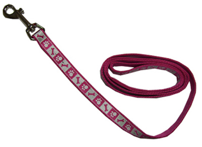 "1"" PNK Flam Refl Leash"