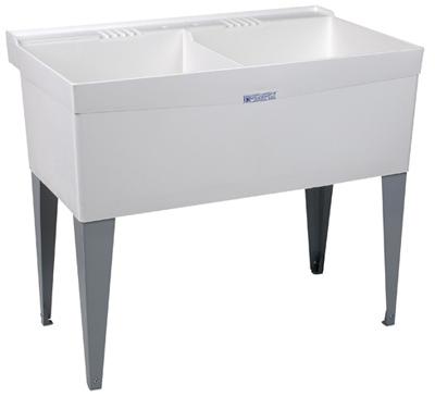 40x24 WHT DBL Laun Tub