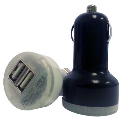 2.1A BLK/WHT Dual USB