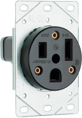 50A BLK FlushPWR Outlet - Woods Hardware