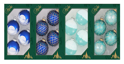 4PK BLU GLS Ornament