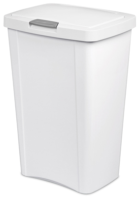 13GAL 49L WHT Touch Can - Woods Hardware