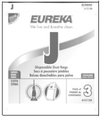 3PK Eureka J Vac Bag