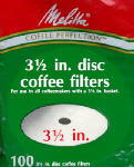 "MELITTA 628354 100 Pack, 3-1/2"" Disc Coffee Filter, For Norelco & All"