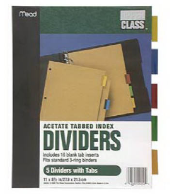 Tab Index Dividers - Woods Hardware
