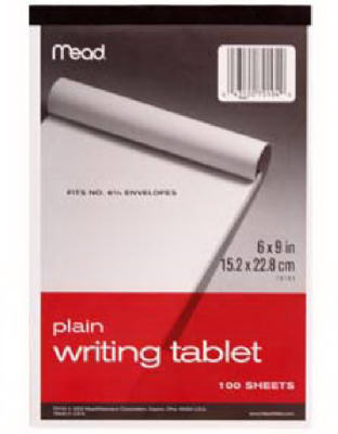 6x9Plain Writing Tablet